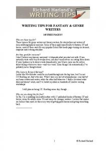 WRITING TIPS FOR FANTASY & GENRE WRITERS