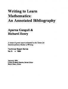 Writing to Learn Mathematics: An Annotated Bibliography