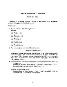 Written Homework 11 Solutions