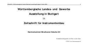 Württembergische Landes- und Gewerbe Ausstellung in Stuttgart in Zeitschrift für Instrumentenbau
