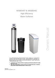 WS685HET & WS685HEC High Efficiency Water Softener