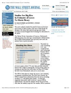 WSJ.com - Studios See Big Rise In Estimates of Losses To Movie Piracy