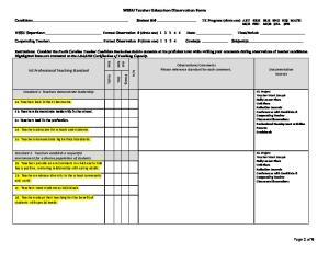 WSSU Teacher Education Observation Form