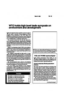 WTO holds high level trade symposia on environment and development