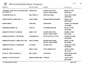 WV Permitted Bottle Water Companies