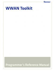 WWAN Toolkit. Programmer s Reference Manual