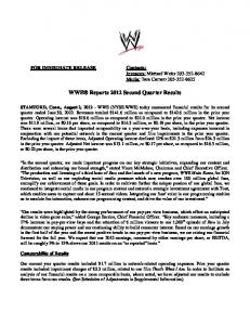 WWE Reports 2012 Second Quarter Results