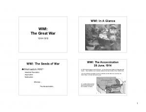 WWI: The Great War. WWI: In A Glance. WWI: The Seeds of War. WWI: The Assassination 28 June, What leads to WWI?