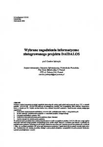 Wybrane zagadnienia informatyczne zintegrowanego projektu DAIDALOS