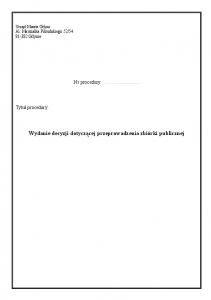 Wydanie decyzji dotyczącej przeprowadzenia zbiórki publicznej
