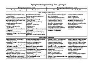 Wymagania edukacyjne z biologii klasa I gimnazjum