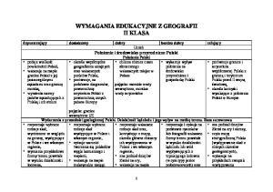 WYMAGANIA EDUKACYJNE Z GEOGRAFII II KLASA