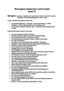 Wymagania edukacyjne z informatyki klasa VI