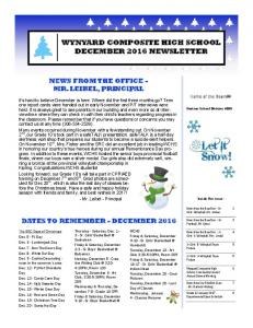 WYNYARD COMPOSITE HIGH SCHOOL DECEMBER 2016 NEWSLETTER