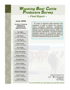Wyoming Beef Cattle Producers Survey