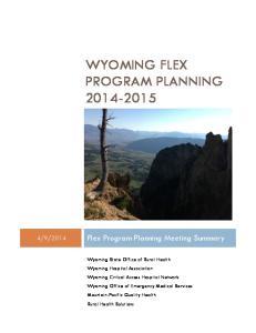 WYOMING FLEX PROGRAM PLANNING