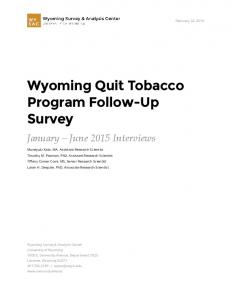 Wyoming Quit Tobacco Program Follow-Up Survey