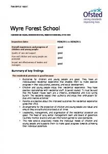 Wyre Forest School. Summary of key findings. Residential report. good. good. good. good