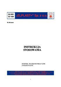 X-2013 INSTRUKCJA STOSOWANIA STUDNIE TELEKOMUNIKACYJNE Z POLIETYLENU