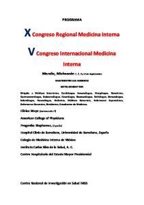 X Congreso Regional Medicina Interna V Congreso Internacional Medicina