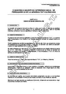 X CONVENIO COLECTIVO INTERPROVINCIAL DE FERROCARRILS DE LA GENERALITAT VALENCIANA