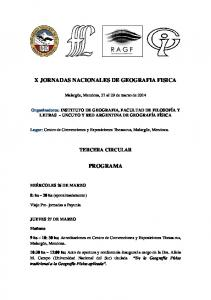 X JORNADAS NACIONALES DE GEOGRAFIA FISICA