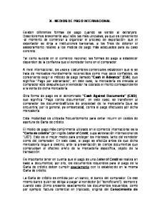 X - MEDIOS DE PAGO INTERNACIONAL