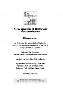 X-ray Analysis of Biological Macromolecules. Dissertation