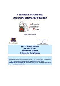 X Seminario internacional de Derecho internacional privado