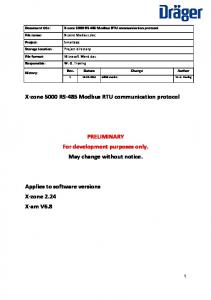 X-zone 5000 RS-485 Modbus RTU communication protocol. PRELIMINARY For development purposes only. May change without notice