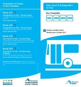 X03. Sans Souci & Eastgardens to City. Description of routes in this timetable. Route 301. Route 302. Route 303. Route X03