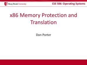 x86 Memory Protection and Translation