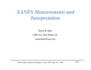 XANES Measurements and Interpretation