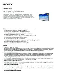 XBR-55X850D. 55 class (54.6 diag) 4K HDR Ultra HD TV