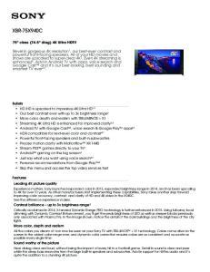 XBR-75X940C. 75 class (74.5 diag) 4K Ultra HDTV