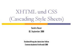 XHTML und CSS (Cascading Style Sheets)
