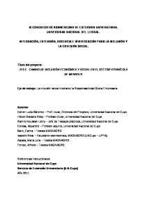 XI CONGRESO IBEROAMERICANO DE EXTENSION UNIVERSITARIA. UNIVERSIDAD NACIONAL DEL LITORAL