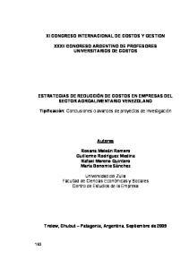 XI CONGRESO INTERNACIONAL DE COSTOS Y GESTION XXXII CONGRESO ARGENTINO DE PROFESORES UNIVERSITARIOS DE COSTOS
