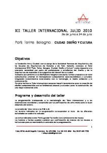 XII TALLER INTERNACIONAL JULIO de junio a 24 de julio