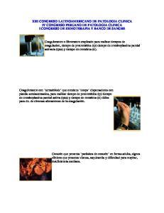 XIII CONGRESO LATINOAMERICANO DE PATOLOGIA CLINICA IV CONGRESO PERUANO DE PATOLOGIA CLINICA I CONGRESO DE HEMOTERAPIA Y BANCO DE SANGRE