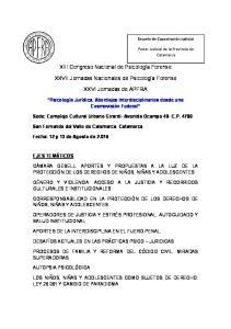 XIII Congreso Nacional de Psicología Forense. XXVII Jornadas Nacionales de Psicología Forense. XXVI Jornadas de APFRA