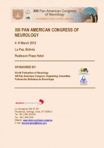 XIII PAN AMERICAN CONGRESS OF NEUROLOGY