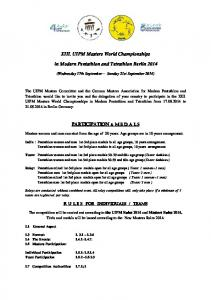 XIII. UIPM Masters World Championships. in Modern Pentathlon and Tetrathlon Berlin 2014