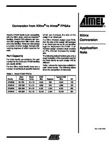 Xilinx Conversion. Application Note. Conversion from Xilinx to Atmel FPGAs. Part Capacity