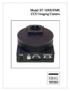 XME CCD Imaging Camera SBIG ASTRONOMICAL INSTRUMENTS