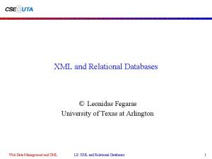 XML and Relational Databases