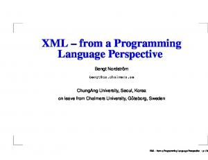 XML from a Programming Language Perspective