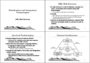 XML Web Services. Distribution and Integration Technologies. Involved Technologies. General Architecture. XML Web Services