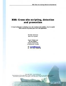 XSS: Cross site scripting, detection and prevention