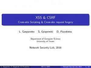 XSS & CSRF. Cross-site Scripting & Cross-site request forgery. L. Gasparetto S. Gasperetti D. Pizzolotto